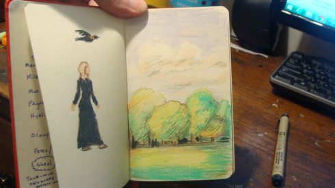 Prospect Park Sketch (Wayne Ferrebee, 2015, color pencil and ink)