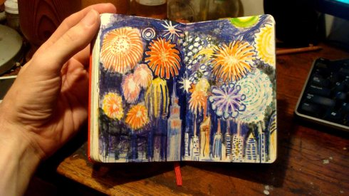 Fireworks over the East River (Wayne Ferrebee, 2015, colored pencil and ink)