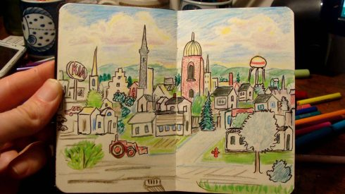 Parkersburg (Wayne Ferrebee, 2015, color pencil and ink)
