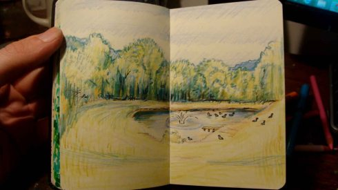 Goose Pond (Wayne Ferrebee, 2015, color pencil and ink)