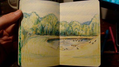 Goose Pond (Wayne Ferrebee, 2015, color pencil and ink)