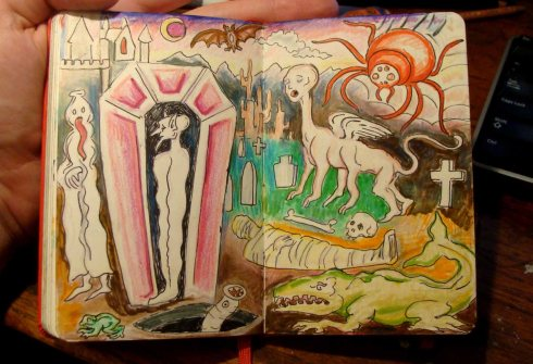 Landscape with Monsters (Wayne Ferrebee, 2015, ink and colored pencil)