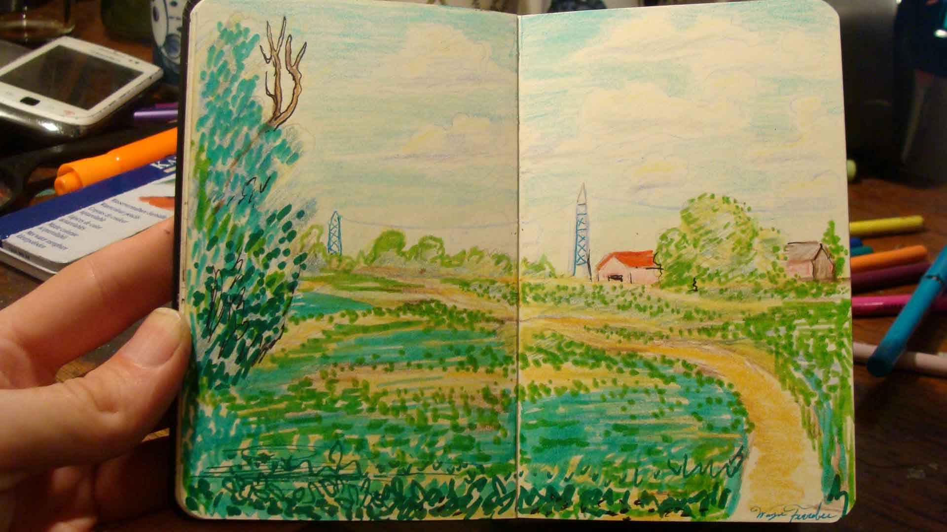 Soybean Field (Wayne Ferrebee, 2015, color pencil and ink)