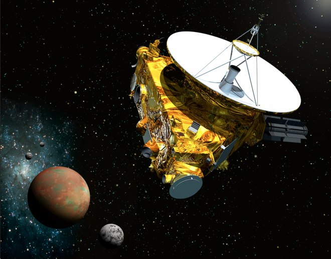 Artist's redition of New Horizons approaching Pluto and Charon