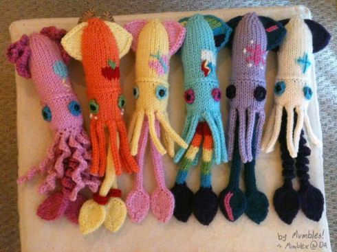 "Too late...here are the ""My Little Cephalopod"" series of ""My Little Pony"" Themed Squid Plushies (from Laughing Squid)"