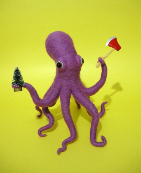 Ax Wielding Octopus (Hiné Mizushima, ca. present, needle-felted sculpture)