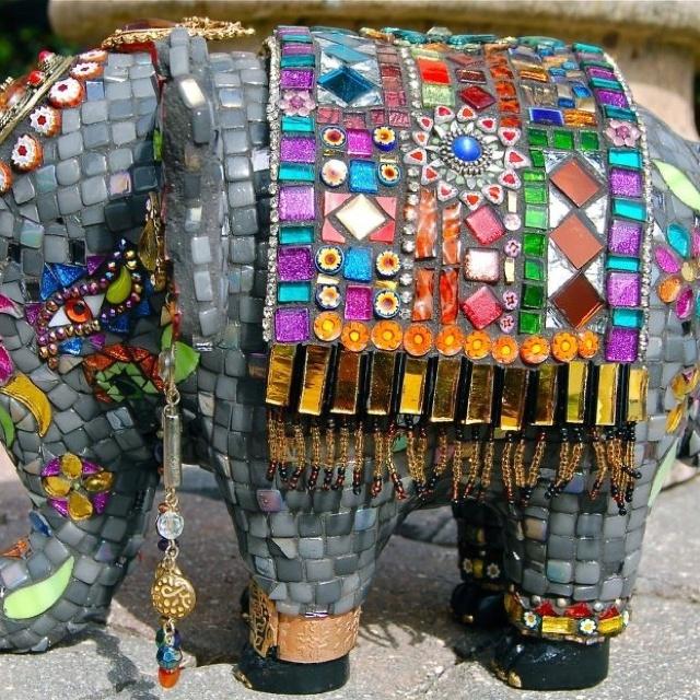 Indian Elephant Mosaic Sculpture