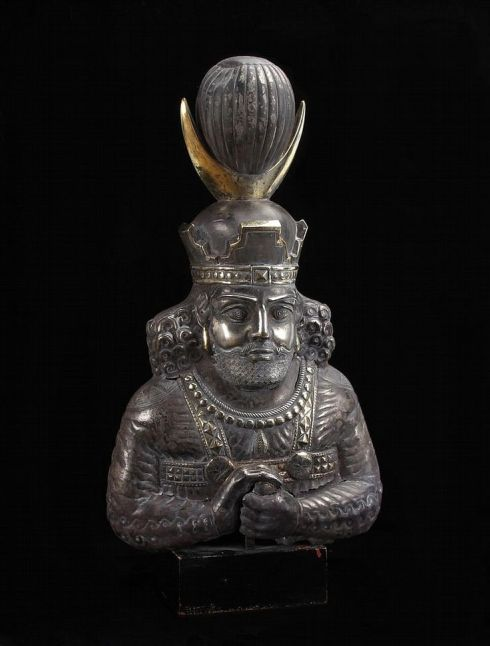 A bust of a Sasanian King--probably Shapur II (AD 310-379), silver with mercury gilding, raised from a sheet of silver with chased and repousse details