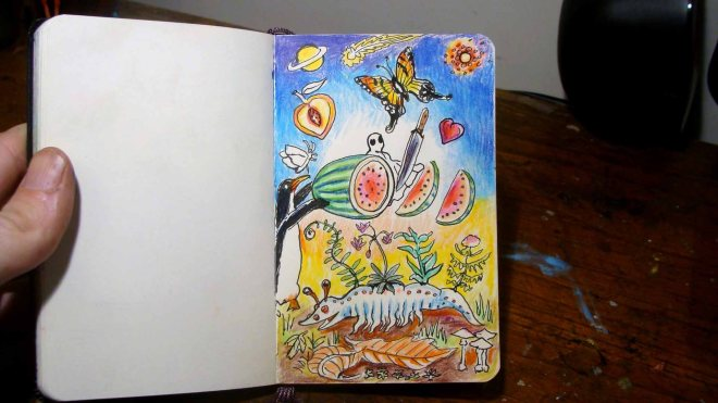 Watermelon Slices (Wayne Ferrebee, 2015, colored pencil and ink)