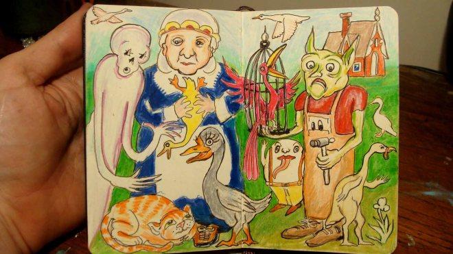 Barnyard Characters (Wayne Ferrebee, 2015, colored pencil and ink)