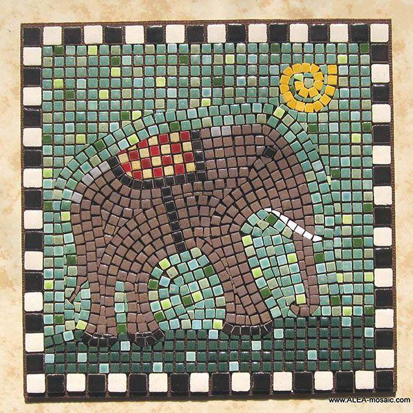 Mosaic Brown Elephant - Mosaik Elefant - Mosaique Elephant - Micro Ceramic Tiles - Craft By Alea Mosaik