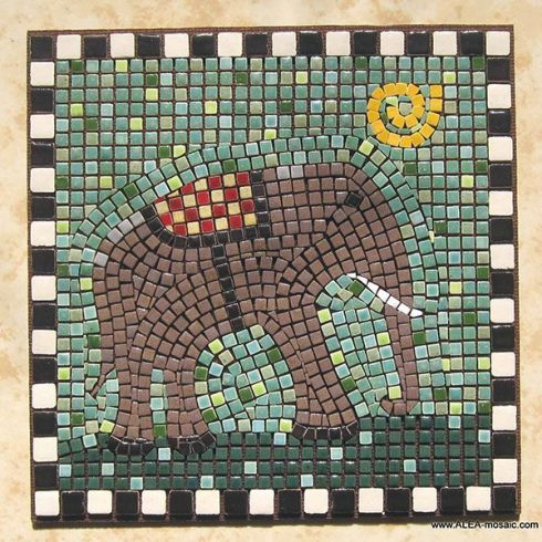 Mosaic Brown Elephant - Mosaik Elefant - Mosaique Elephant - Micro Ceramic Tiles - Craft By Alea Mosaik