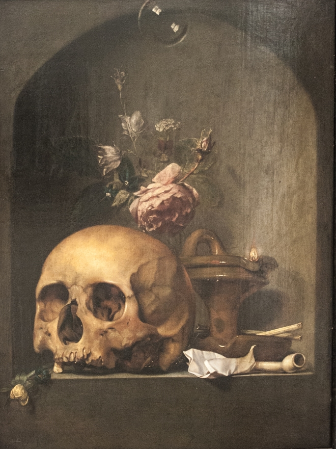 Vanitas with Skull (Hendrick Andriessen, ca, 1600-1650, oil on panel)