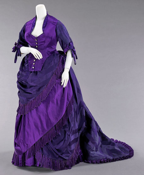 Victorian style dress with unfaded purple dye
