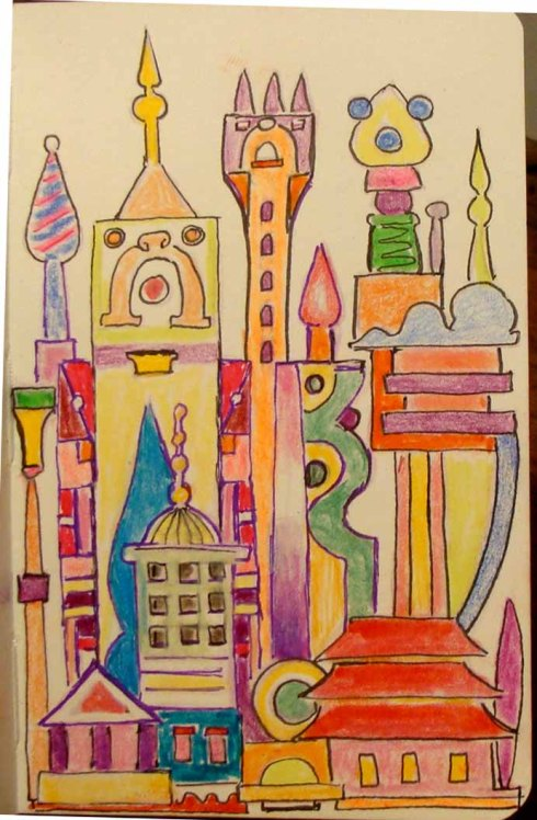 Cityscape (Wayne Ferrebee, 2015, Colored pencil and ink)