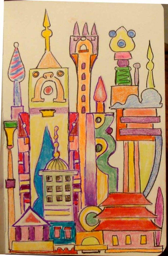 Cityscape (Wayne Ferrebee, 2015, Colored pencil and ink)