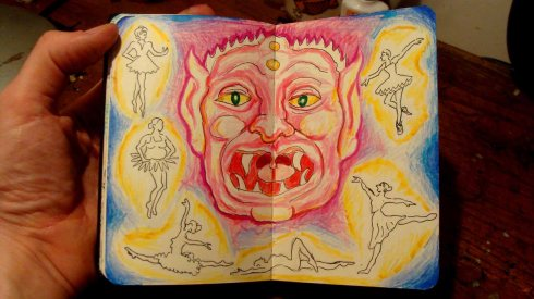 The Demon and the Sylphs (Wayne Ferrebee, 2015, color pencil and ink)
