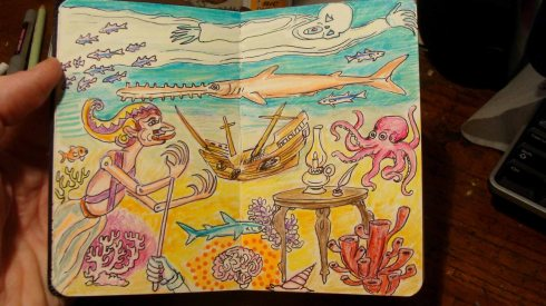 Sulawesi Shipwreck (Wayne Ferrebee, 2015, color pencil and ink)