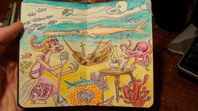 Sulawesi Shipwreck (Wayne Ferrebee, 2015, color pencil and ink)