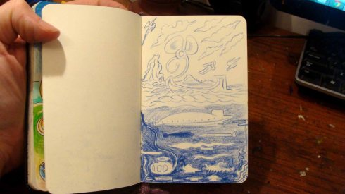 Strange Ocean World (Wayne Ferrebee, 2015, colored pencil on paper)