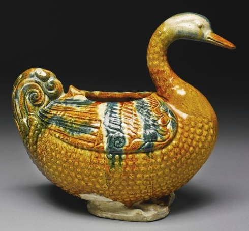 Sancai And Blue-Glazed Pottery Goose-Form Vessel
