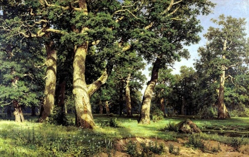 Oak-wood (Ivan Ivanovich Shishkin, 1887, oil on canvas)