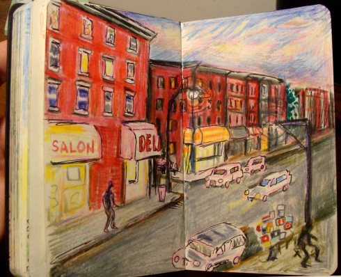 Twilight Bed-Stuy Before the Parade (Wayne Ferrebee, 2015, color pencil and ink)