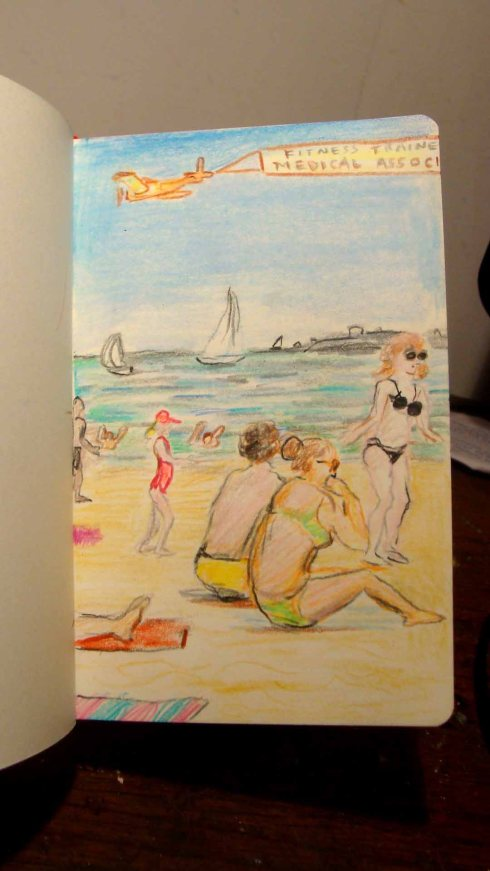 Sketch of Coney Island (Wayne Ferrebee, 2015, color pencil)