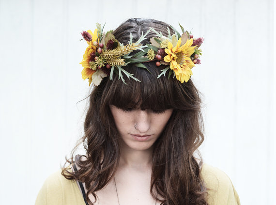 "Sunflower and Wild Wheat Crown...again by ""BloomDesignStudio on Etsy...gosh, those guys are the best!"