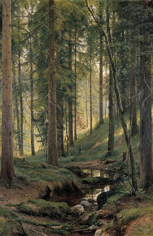 Stream by a Forest Slope (Ivan I. Shishkin, 1880, oil on canvas)