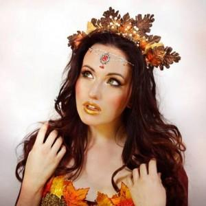 Autumn oak-leaf fairy crown and third-eye jewellery made (and sold) by