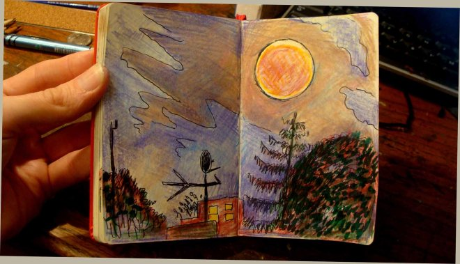 Update: Here is my drawing from the roof...it's really hard to draw in the dark!
