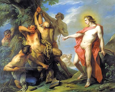 Marsyas Flayed by the Order of Apollo (Charles André van Loo, 1735, oil on canvas)