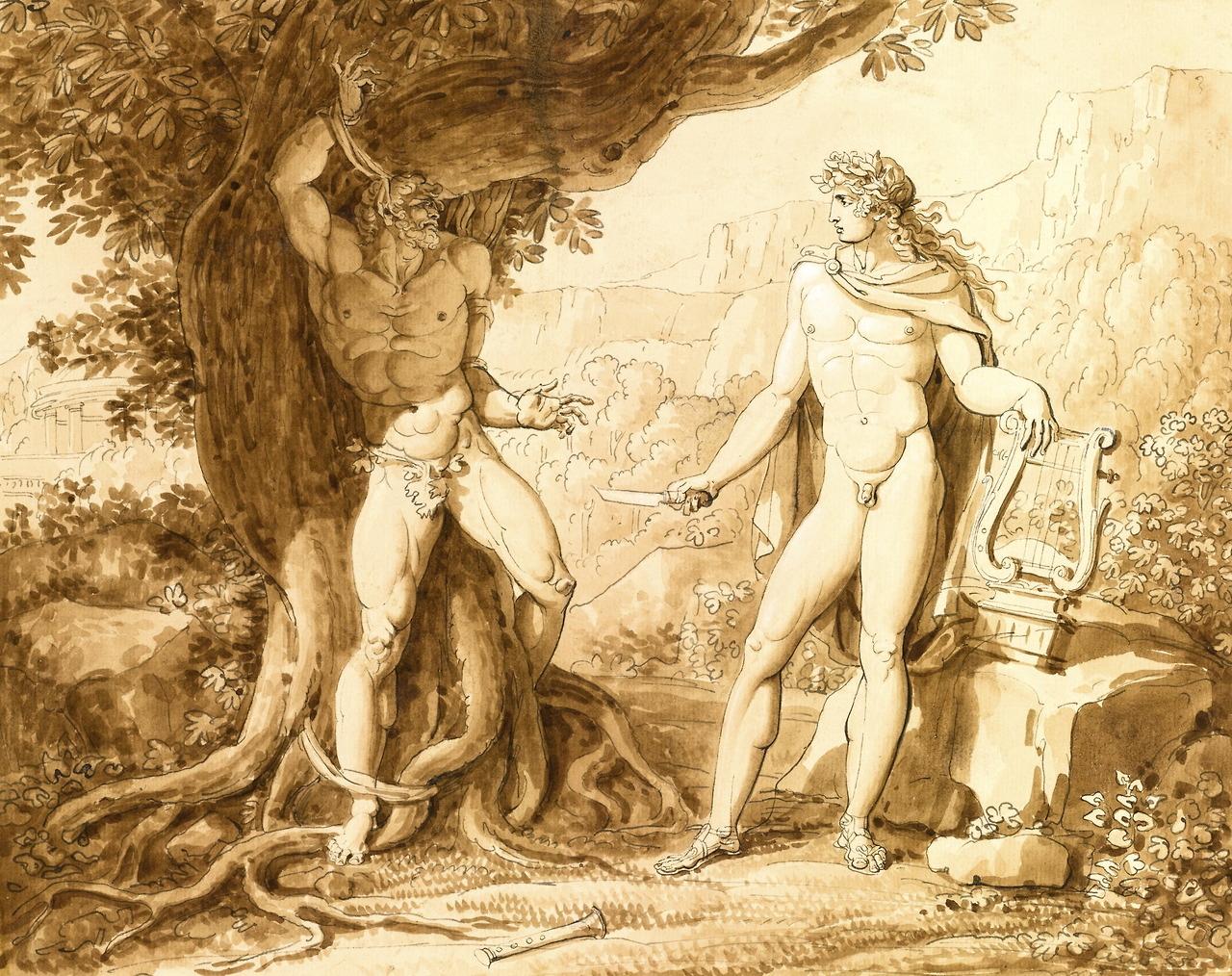 Apollo and Marsyas (Giuseppe Cammarano,  19th century, print)