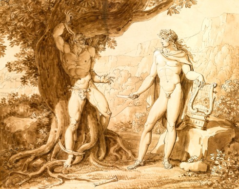 Apollo and Marsyas (Giuseppe Cammarano,  19th century, print)