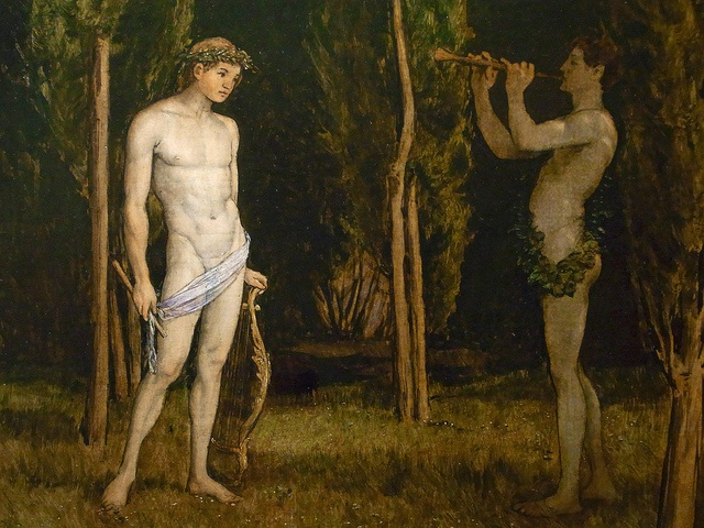 Apollo and Marsyas (Hans Thoma, 1888, oil on canvas)