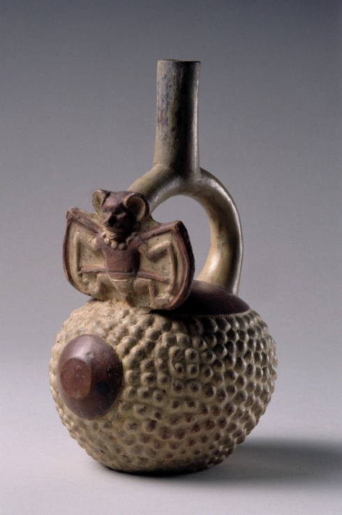 Early Intermediate (Moche IV), Mochica Molded stirrup-spout vessel, A.D. 500–700 Ceramic with red and white slip North coast, Peru