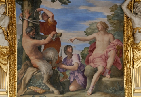 Apollo and Marsyas from the ceiling of Anne of Austria's summer apartments (Giovanni Francesco Romanelli, ca. mid 17th century, fresco)