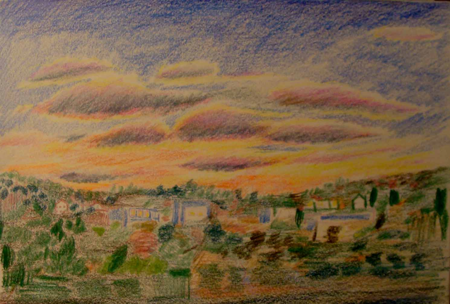 Hudson Valley from Bus Window (Wayne Ferrebee, 2015, color pencil and ink)