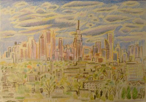 New York City from Bus Window (Wayne Ferrebee, 2015, color pencil and ink)