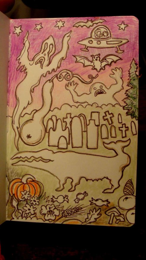Autumn Land Whale and Miscellaneous Others (Wayne Ferrebee, 2015, color pencil and ink)