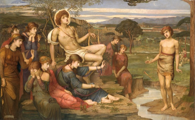 Apollo and Marsyas (John Melhuish Strudwick, 1879, oil on canvas)