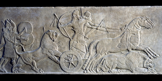Neo-Assyrian Gypsum wall panel relief showing Ashurnasirpal II hunting lions, 865BC – 860 BC.