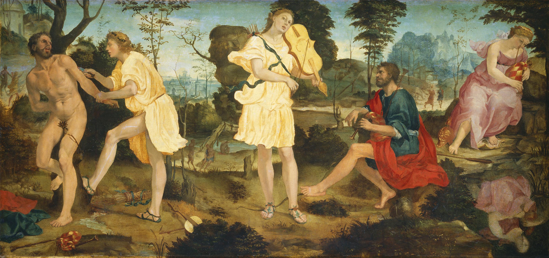 Apollo and Marsyas (Anselmi, 1540, oil on canvas)