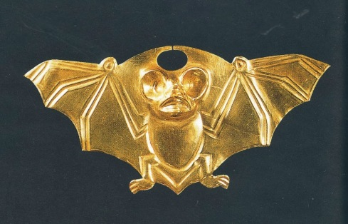 Gold Nasal Ornament with bat (Moche)