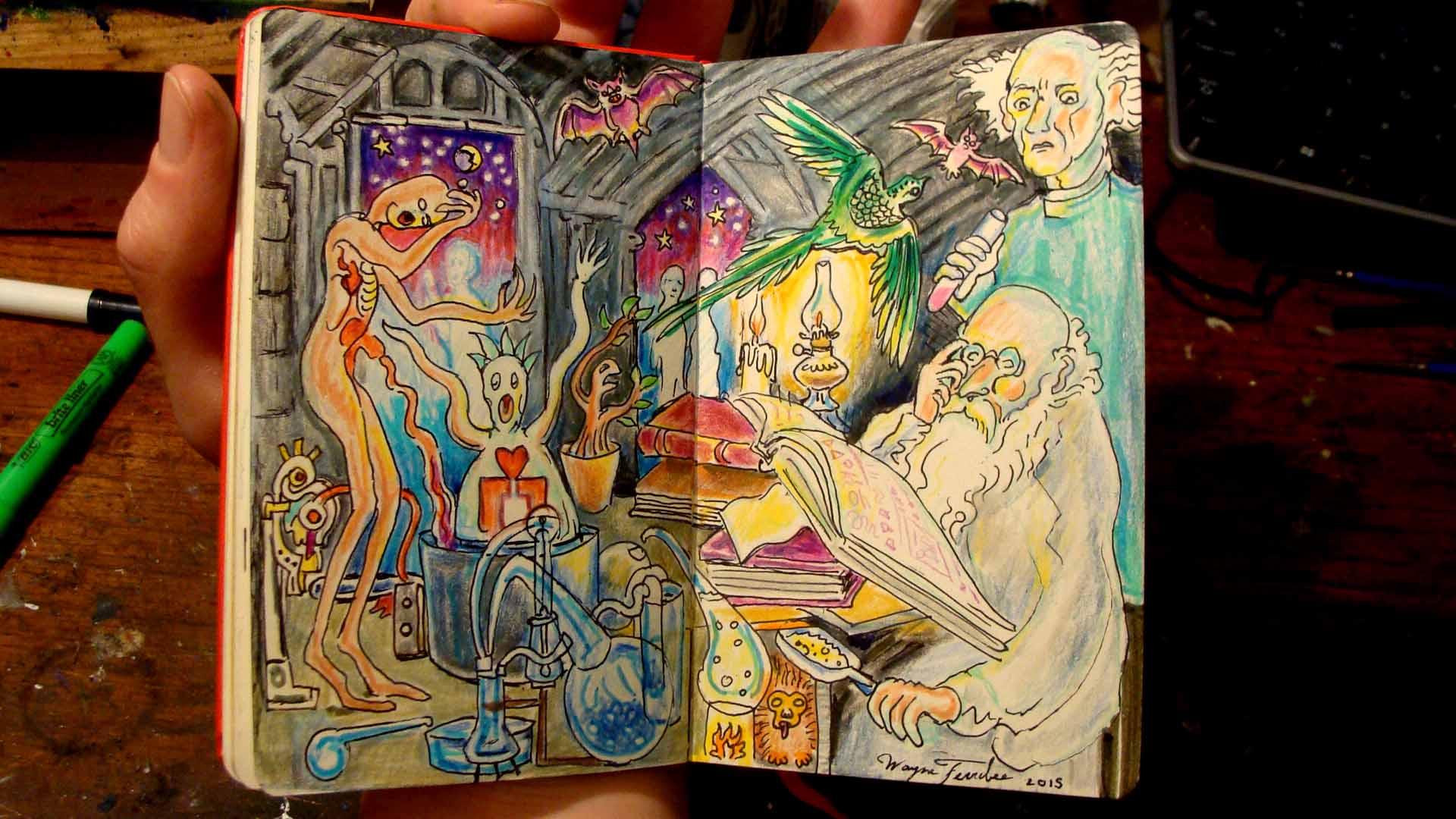 Nightjar (Wayne Ferrebee, 2015, color pencil and ink)