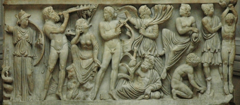 The competition between Marsyas and Apollo on a Roman sarcophagus (290–300) marble
