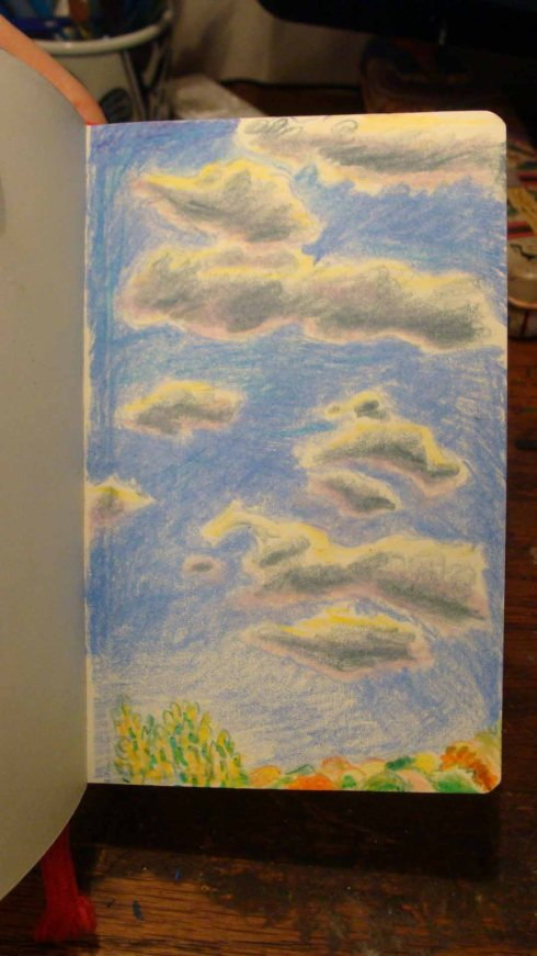 Hudson Valley Sky in Autumn (Wayne Ferrebee, 2015, color pencil and ink)