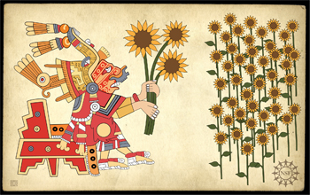 It is possible I will have to change this article around, but this evocative Aztec-style picture was made by modern artist Zina Deretsky