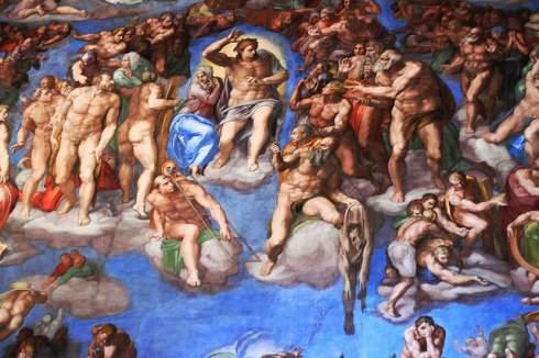 "Detail from ""The Last Judgment"" (Michelangelo Buonarotti, ca. 1535-1541, fresco)"